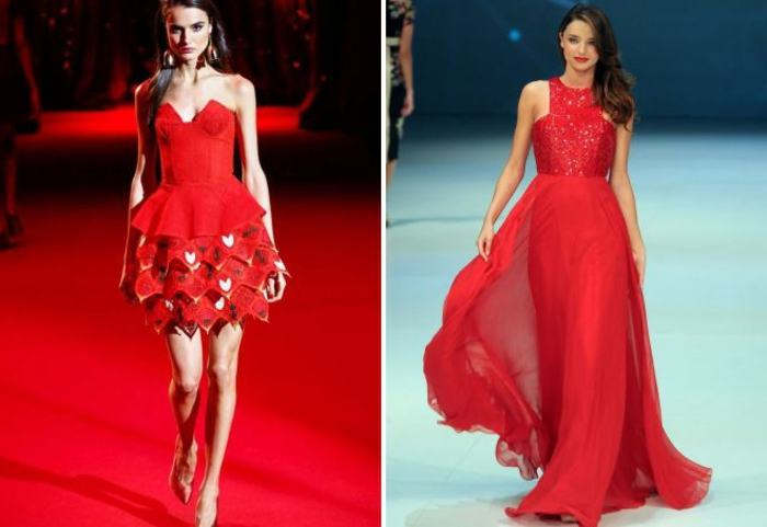 nochevieja 2017, ideas en rojo, vestido corto juguetón, vestido largo con parte inferior aireada