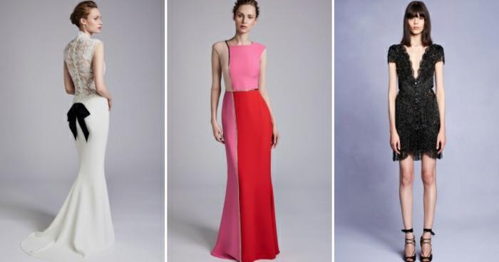 vestidos nochevieja, propuestas para cocteles oficiales, ideas extravagantes, dos vestidos largos y uno corto