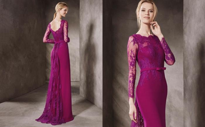 vestidos boda, vestido largo elegante en color fuscia, parte superior de encaje, cinta en la cintura, pelo en coleta
