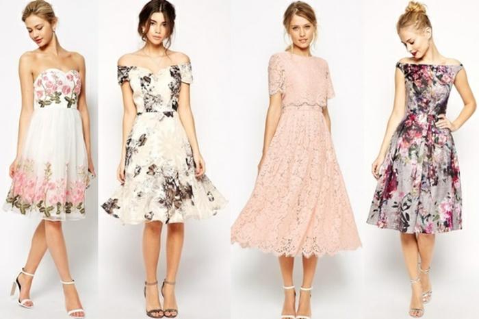 vestidos para ir de boda, cuatro vestidos para invitadas de bodas de primavera, vestidos en tonos pastel con motivos florales