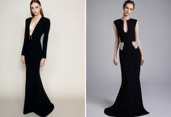 vestidos largos, dos vestidos largos en negro con escotes descubiertos, corte sirena, pelo alisado