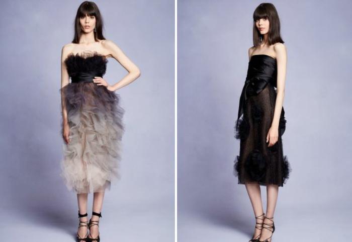 vestidos fin de año, dos propuestas extravagantes en negro con volantes y moños, vestidos con hombros descubiertos