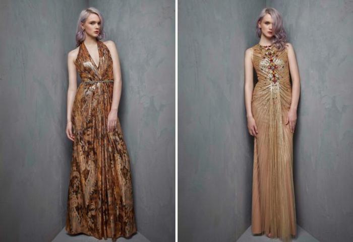 vestidos fin de año, dos vestidos elegantes largos en dorado, materias relucientes, pelo suelto