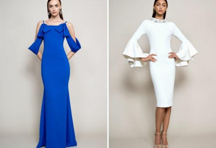 vestidos fin de año, dos vestidos largos de corte original, mangas interesantes, líneas limpias