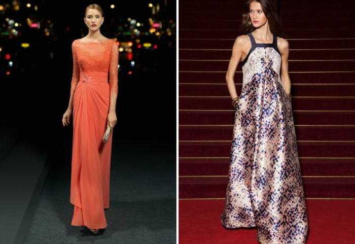 vestidos fin de año, propuestas de vestidos largos en color naranja y estampado de puntos, vestido aireados
