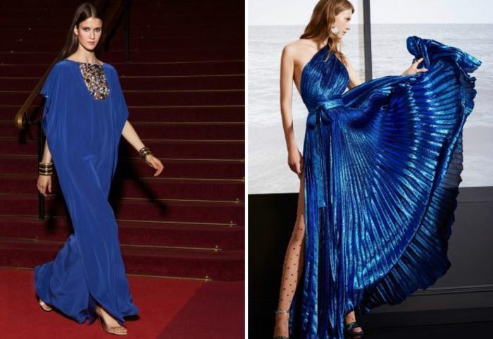 vestidos largos de fiesta, preciosas ideas en azul intenso, cortes aireados, moños y piedras decorativas