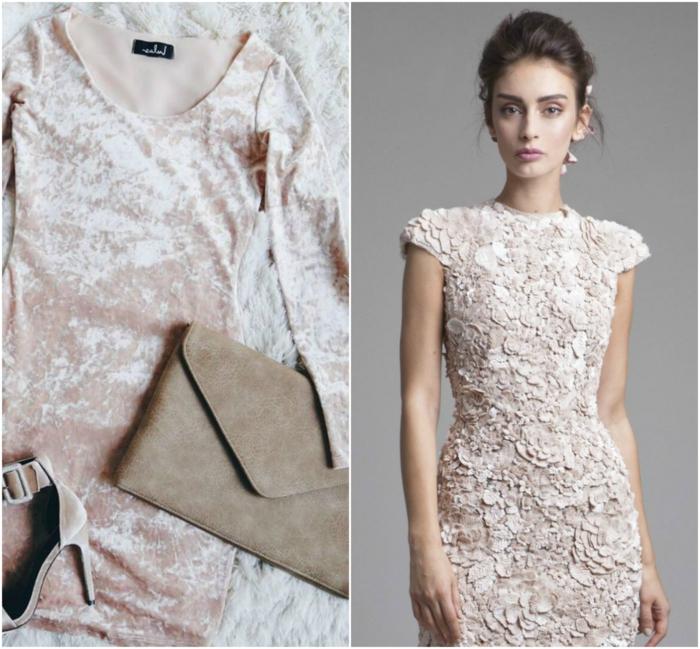vestidos fiesta cortos, vestidos refinados en color rosado, propuesta en terciopelo con bolso y zapatos en beige