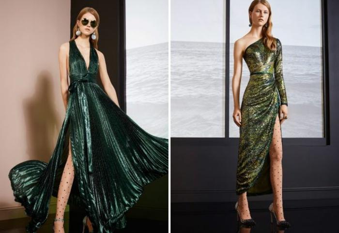 vestidos largos de fiesta, propuestas relucientes en verde con grandes hendiduras, telas refinadas