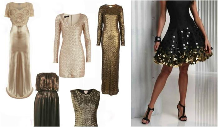 vestidos largos de fiesta, ideas en dorado, diferentes propuestas de vestidos cortos y largos, vestido negro con decoración en color oro