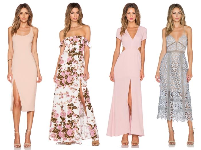 vestidos para bodas de dia, cuatro propuestas elegantes en tonos pastel y estampados de flores, ideas de vestidos en rosado
