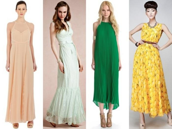 vestidos para bodas de dia, cuatro vestidos de longitud larga en diferentes colores, ideas en verde saturado y amarillo llamativo