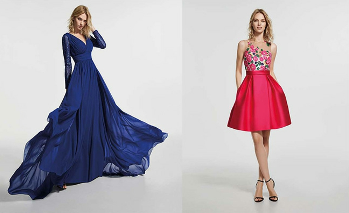 vestidos para ir de boda, dos propuestas en colores llamativos para vestidos de invitadas de bodas, vestido en azul saturado largo