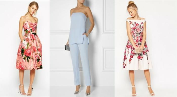 vestidos para ir de boda, vestidos elegantes con estampados de flores, mono sofisticado en azul suave
