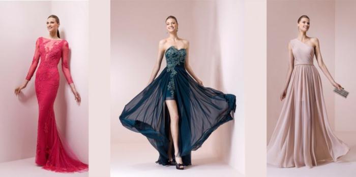 vestidos para ir de boda. tres propuestas sofisticada de vestidos de boda en diferentes colores, vestidos elegantes largos