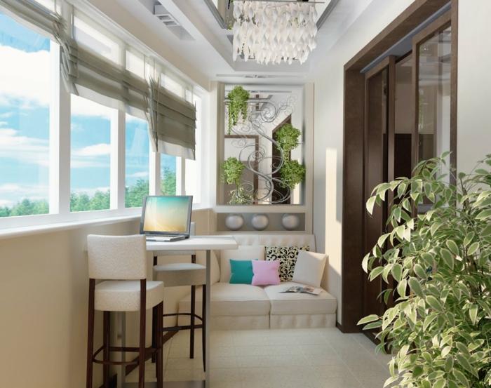 ejemplos modernos de terrazas con encanto, balcón con muebles de estilo contemporáneo, estores modernos en gris y lámpara original