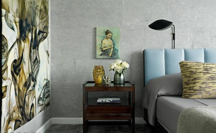 propuesta encantadora de dormitorio matrimonio decorado y amueblado en estilo vintage con cuadros decorativos