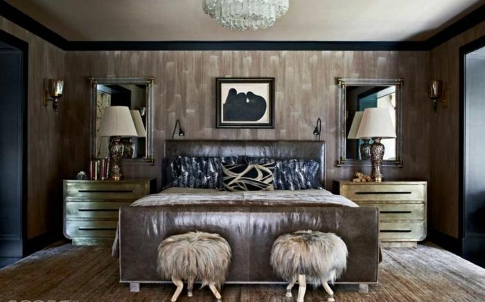 cómo colocar cuadros decorativos en un dormitorio de estilo vintage, sillas peludas de diseño original