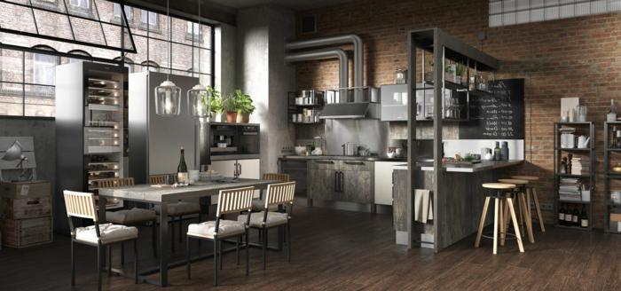 cocina comedor en tonos terrosos,diseño de cocinas en estilo industrial, grande espacio con paredes de ladrillos y techo de parquet