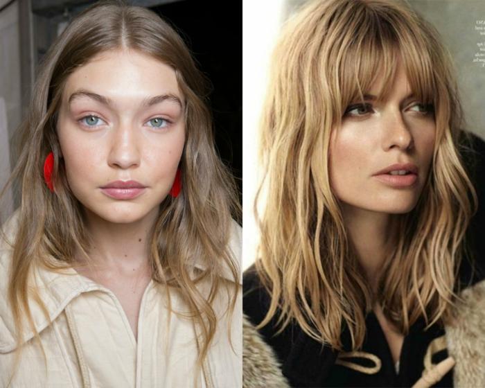 cortes de pelo modernos, variadades de cortes de pelo para media melena, mechas sobresacadas, cabello rubio, tendencias en los peinados 2018