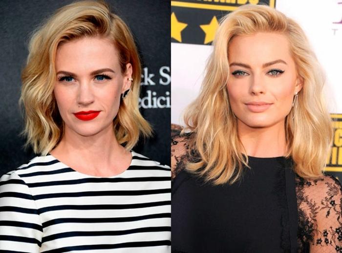 cortes de pelo modernos, dos actrices famosas con media melena rubia, pelo ligeramente ondulado, peinado a un lado