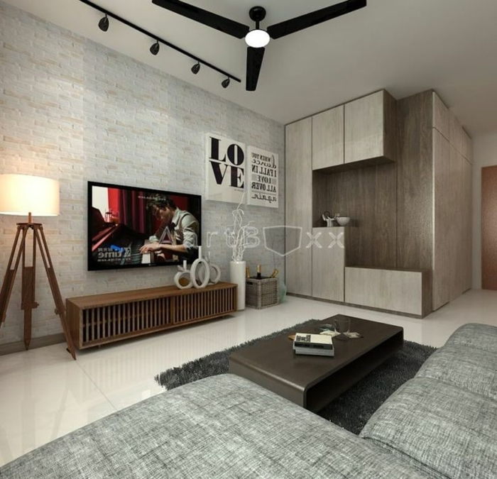 separadores, salón moderno en estilo minimalista, paredes con decoración moderna, sofá en beige, grande armario de madera