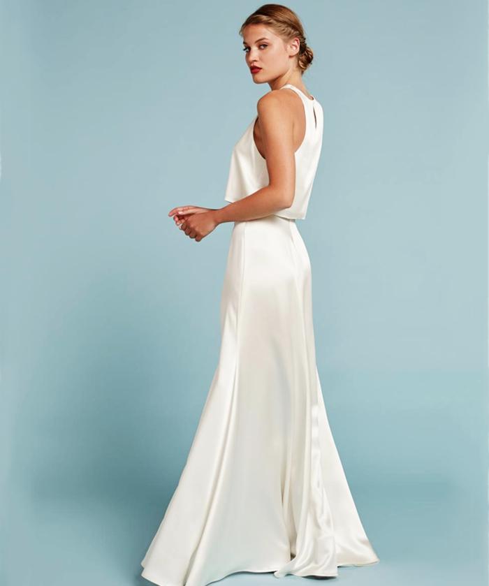 vestidos de novia sencillos, precioso vestido de dos piezas, parte superior original, vestido largo de satén pelo recogido en moño bajo