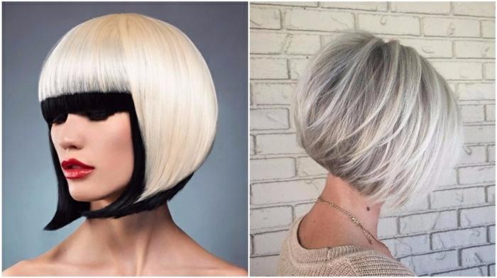 cortes de pelo modernos, variaciones de bob, pelo rubio con mechas oscuras, ideas modernas para tu pelo 2018