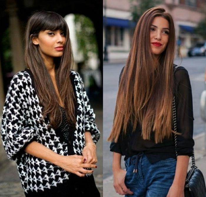cortes de pelo rizado 2018, tendencias en los peinados 2018, dos ejemplos de pelo largo castaño, cortado en capas