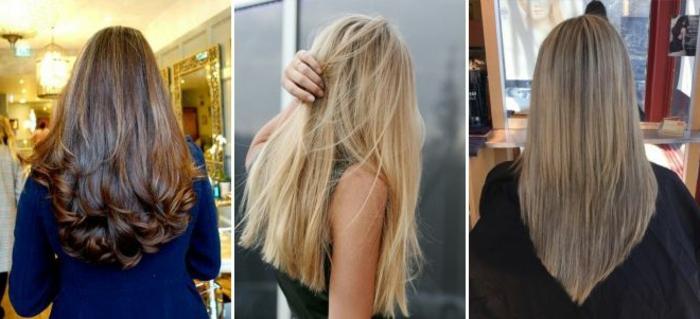 cortes de pelo modernos, tres propuestas de pelo largo cortado en manera diferente, ideas de pelo liso y ondulado