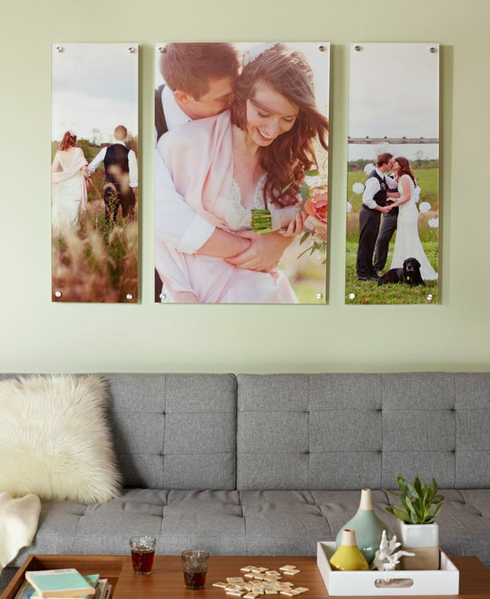 decorar con fotos, idea original para decorar el hogar, grandes fotos de boda en la pared, salón en estilo moderno