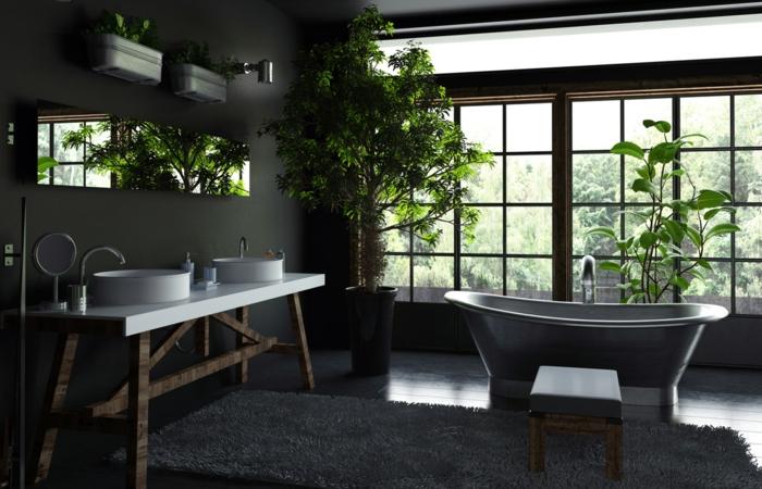 preciosa propuesta de baño decorado con plantas verdes y toque rústico, alfombra blanca peluda, muebles de madera y grandes ventanales