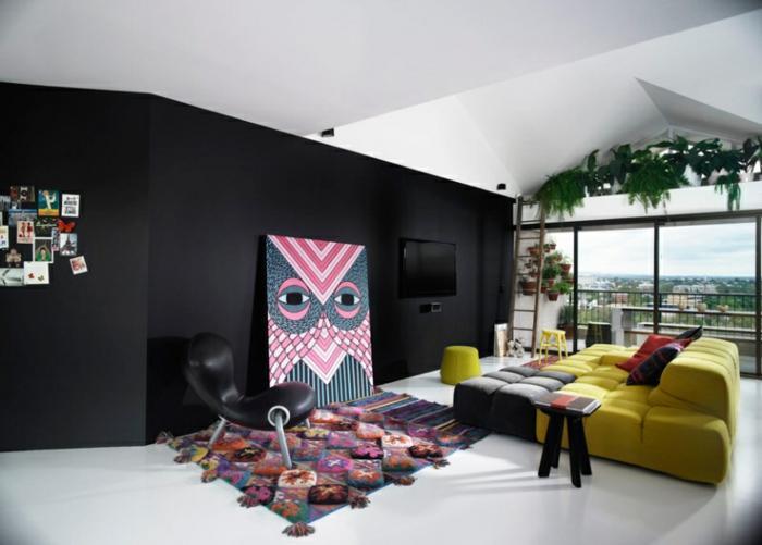 interesante diseño, dormitorio en estilo contemporáneo con paredes en negro, grandes ventanales, cuadros para dormitorios modernos