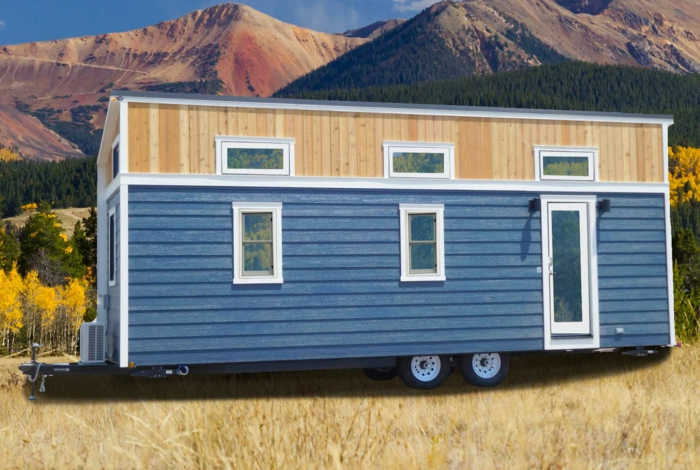 minicasas, bonito paisaje montañoso con mini casa portatil, revestimiento de madera, casa en azul con pequeña plataforma
