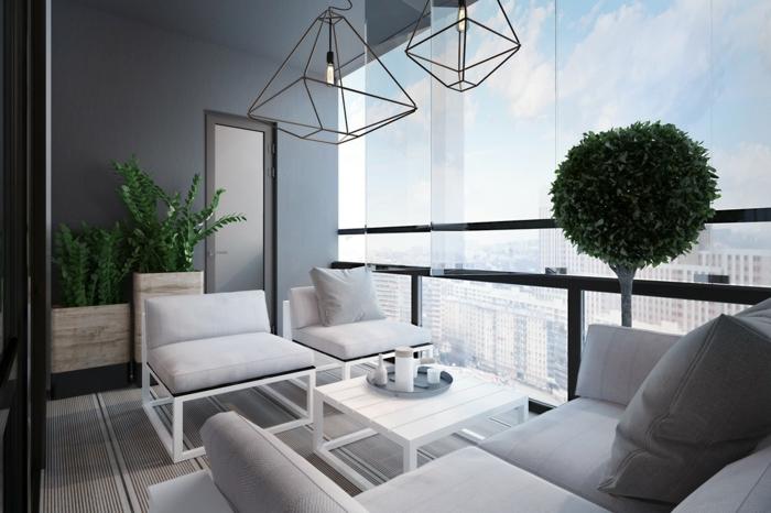 muebles modernos para terraza, diseño sencillo y colores claros, terrazas con encanto con decoración de plantas verdes