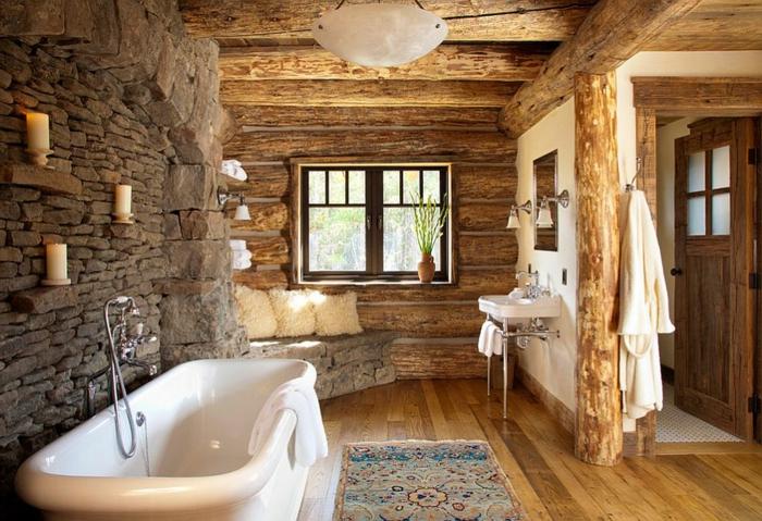 estilo rústico clásico, baño revestido de madera y piedra, bañera moderna en blanco, baños rusticos de leña