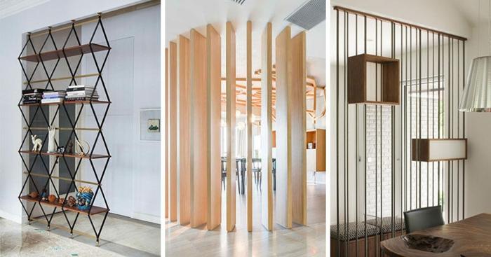 separadores, tres propuestas originales de separadores de ambientes de metal, madera y tela, diseño atractivo