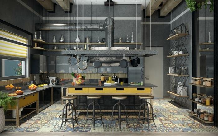 espacio en estilo industrial decorado en gris, diseño de cocinas funcional y bonito, armarios en amarillo y gris, suelo con azulejos con mosáico