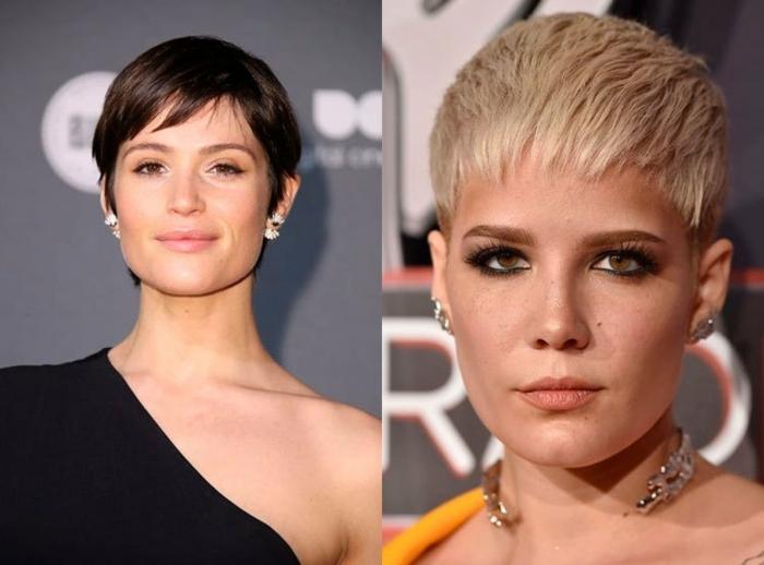 peinados pelo corto, dos mujeres con cortes de pelo en estilo pixie, flequillos cortos afilados, tendencias 2018