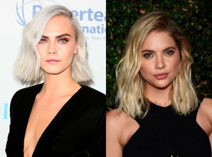 pelo corto mujer, dos ejemplos de corte de pelo carre en pelos rubios, media melena ondulada, vestido negro de terciopelo