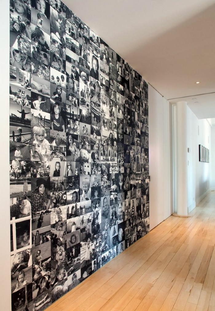 fotos originales, ideas de decoración de una casa en estilo moderno minimalista, pared cubierta de fotos en blanco y negro