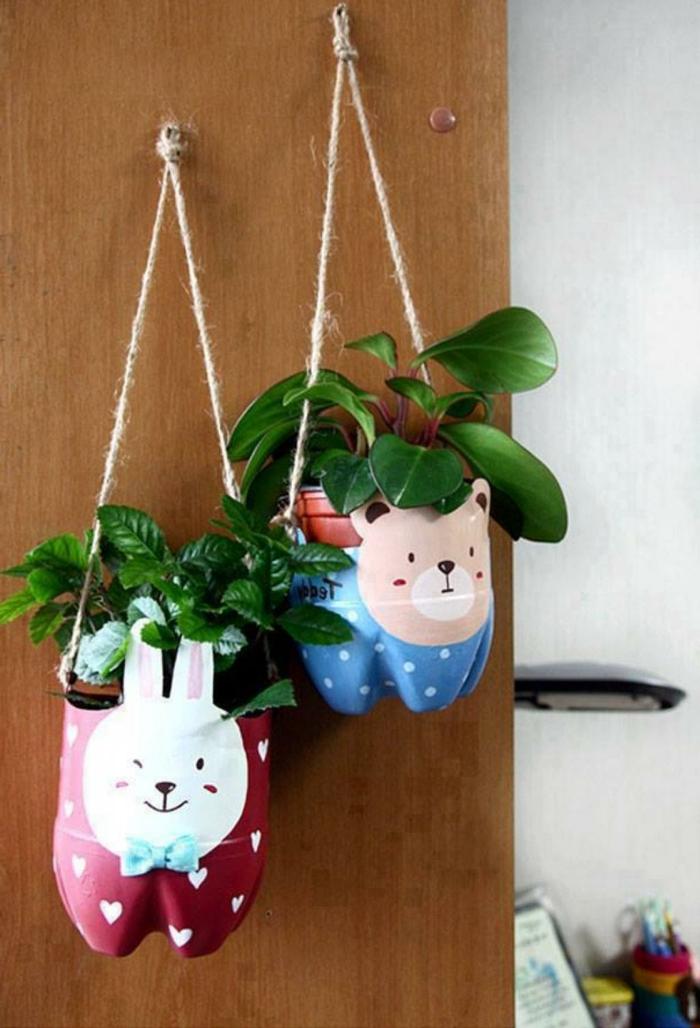 botellas decoradas atractivas, macetas colgantes hechas a mano, macetas para pequeñas plantas verdes