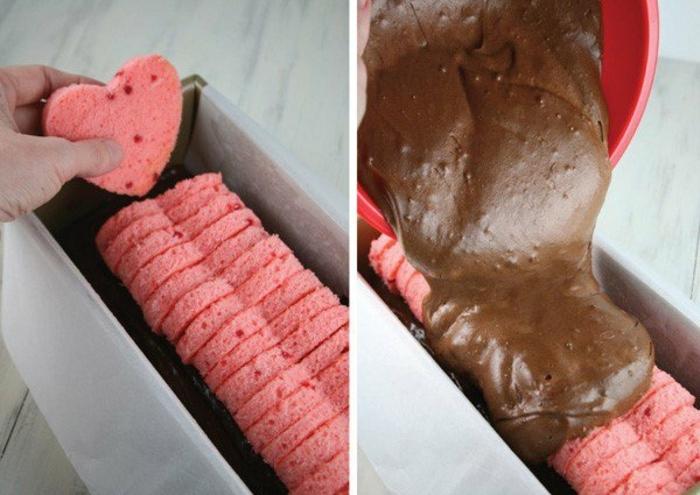 tarta de chocolate casera con detalles en forma de corazones, regalos para novios originales y románticos DIY