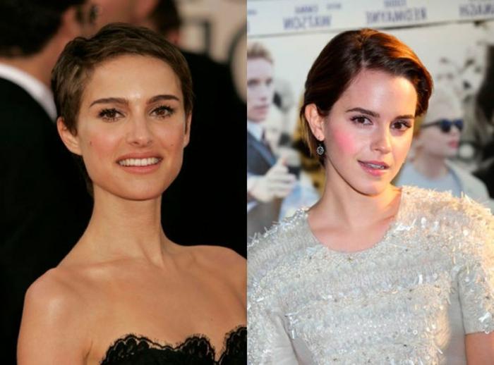 peinados pelo corto, corte de pelo military para las mujeres, Natalie Portman y Emma Watson luciendo encantadoras con corte de pelo corto