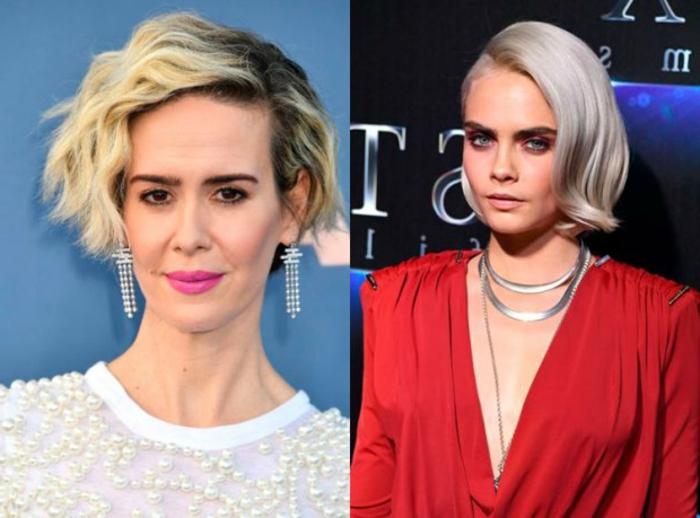 pelo corto mujer, últimas tendencias en el pelo 2018, dos propuestas de pelo rubio peinado a un lado, toque despeinado