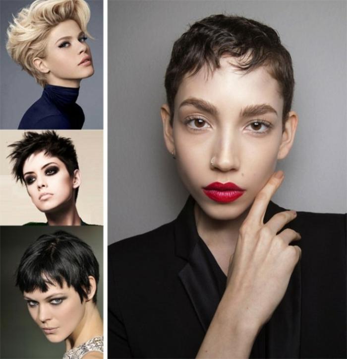 peinados pelo corto, variantes de cortes de pelo cortos modernos, cuatro mujeres con cabellos muy cortos