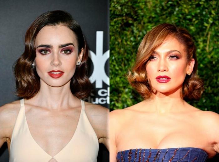 pelo corto mujer, dos propuestas de pelo corto con rizos coquetos, longitud hasta los hombros, tendencias pelo mujer 2018