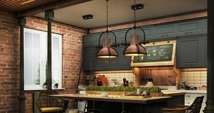 ideas originales para amueblar la cocina en estilo rústico, muebles de cocina con dob;e función, lámparas atractivas con toque vintage