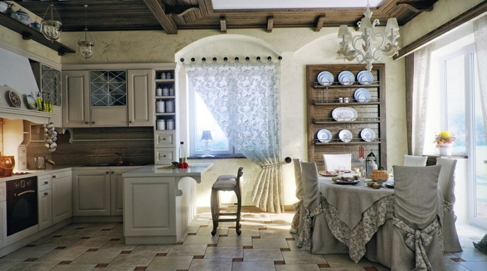 cortinas modernas, grande cocina en estilo provenzal con elementos rústicos,muebles de madera, cortinas aireadas de encaje