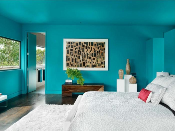 1001 ideas de decoraci n con cuadros para dormitorios for Habitacion blanca y turquesa