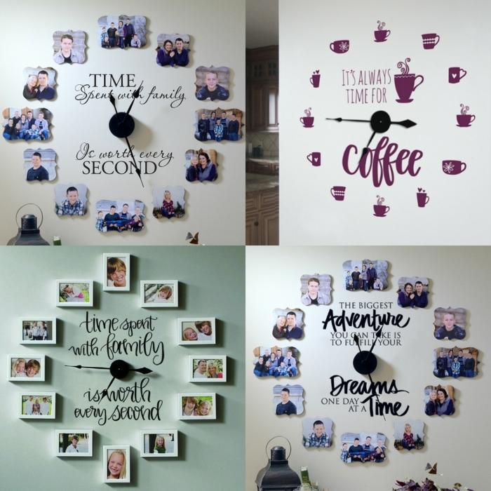 manualidades con fotos, propuestas originales DIY con fotos pequeños colocados en la forma de un reloj, idea divertida para la familia